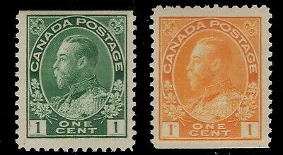 CANADA #104as & 105as MNH-SINGLES WITH A STRAIGHT EDGE- KG V 'ADMIRAL'  FINE