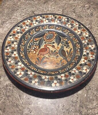Large Mexican Tonala Pottery Charger Plate Wall Plaque Folk ART Signed Nogal