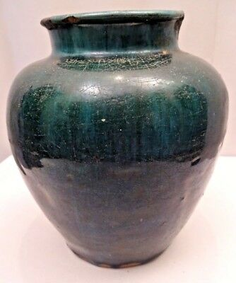 Antique Chinese Pottery Ginjer Jar Pot Green Color Glazed Rare Collectibles *