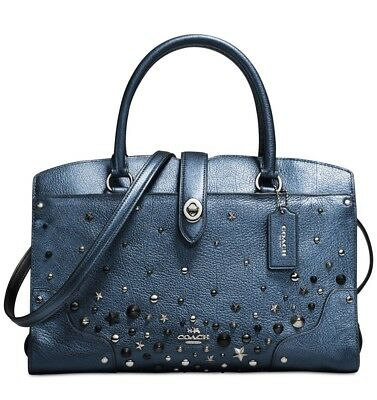 10e064b3d Coach 59497 Marcer Satchel 30 in Metallic Leather With Star Studded Leather