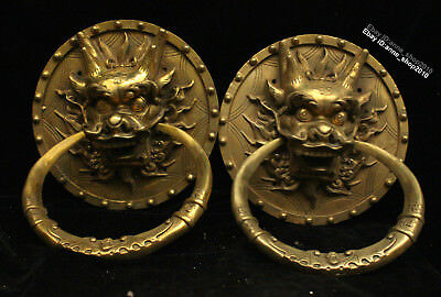 23CM China old Brass antique Bronze Handmade Animal Dragon Loong knocker AQQY