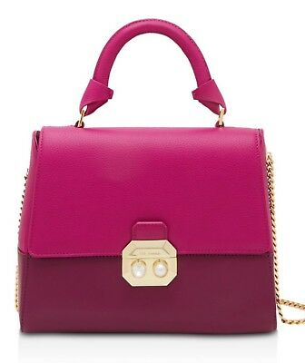 815db2a34 Ted Baker London Shirley Crystal Pearl Lock Lady Bag Leather MD Bright  Pink/Gold