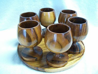 """Set of 6 Turned Teak Wood 6oz. Goblets / Cups with 11"""" Tray"""
