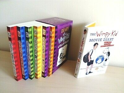 Diary of a Wimpy Kid Collection 6 Books Set + Movie Diary Book Bundle Lot (Kids)