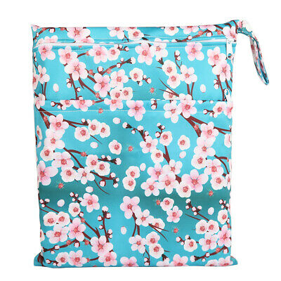 Wet Dry Bag Baby Cloth Diaper Nappy Bag Double Zippers Pocket Floral For Girls