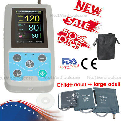 FDA&CE, Ambulatory Blood pressure Monitor Digital Upper Arm 3 cuffs, PC Software