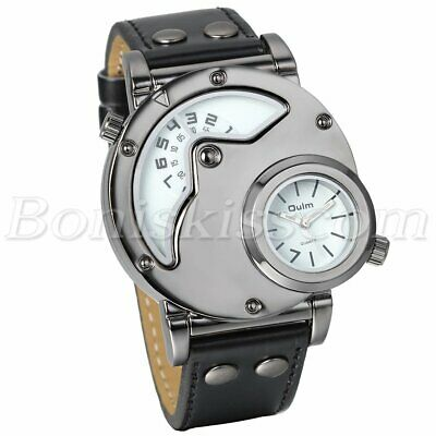 Dual Time Dial Military Army Quartz Analog Leather Band Men's Sport Wrist Watch