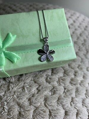 Sterling Silver Plated Plum FLOWER Fashion Choker Pendant Necklace With Crytals