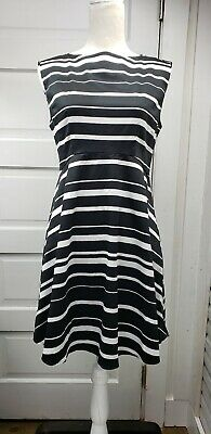 809ab79045f6 New French Connection Dress Sz 8 Black White Stripe Sleeveless Fit And  Flair New