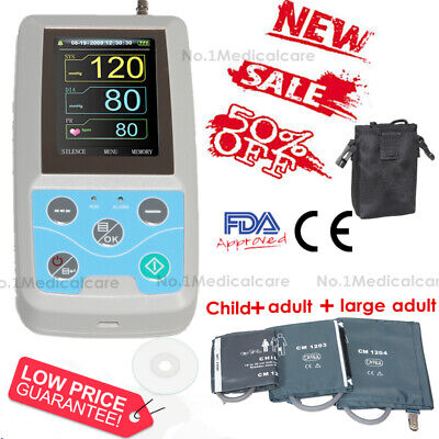 24H Ambualtory Blood Pressure Monitor, NIBP Holter with 3 Cuffs, usb pc software