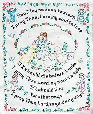 * Vintage Completed Embroidery Cross Stitch NOW I LAY ME DOWN PRAYER Unframed