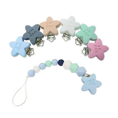 Baby Silicone Pacifier Clip Soother Teether Star Shape Anti Fall Clips Safe