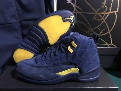 5cf6e47b4b28 Air Jordan 12 RTR Michigan NRG DS College Navy Amarillo BQ3180-407 Men s Sz