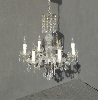 Vintage French Provincial Crystal Six Arm Chandelier Light