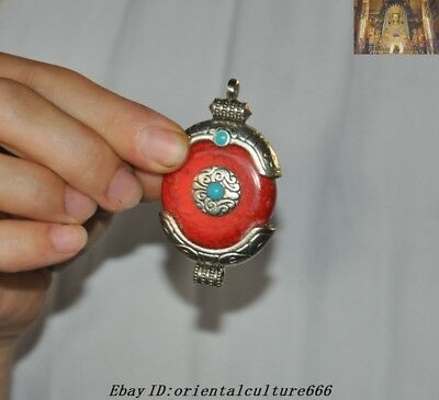 Collect Old Chinese Tibetan Silver inlay Red jade amulet necklace Pendant