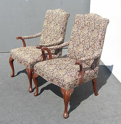 Pair Bernhardt Accent Side Arm Chairs French Country Floral Design Cabriole Legs