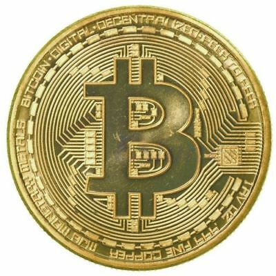 NEW Bitcoin Commemorative Round Collectors Coin Bit Coin is Gold Plated Coins