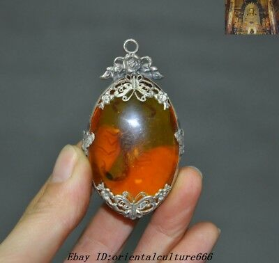 "3""Collect Chinese Artificial amber inlay Tibetan Silver Scorpion Amulet pendant"