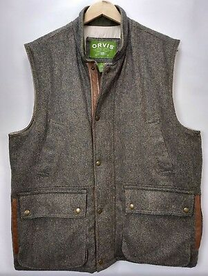 6b26cfd959a77 Orvis Mens Tweed Wool Insulated Field Vest Size Large Leather Full Zip Green