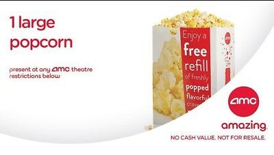 AMC Theater 3 Large Popcorn Certificates - EXP 6/30/20