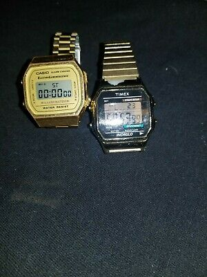 Casio and timex indiglo Gold  Digital Alarm Watches Eliminator Light