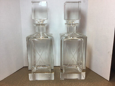 Vintage Pair Of Heavy Etched Crystal Decanters W/ Heavy Block Matching Stoppers