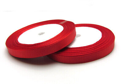 """Free shipping 3/8"""" 25Yards Solid color Satin Ribbon Wedding For Party Red"""