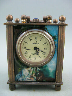 GOOD QUALITY OLD COPPER CARRIAGE CLOCK-Enamel painting-Beautiful girl