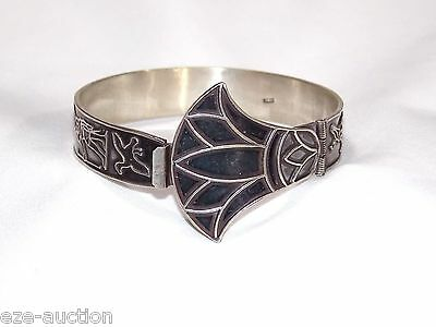 Egyptian Solid Stamped Silver Bracelet Egyptian Royal Lotus Flower Themes