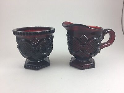 """Vintage Avon 1876 Cape Cod Collection Red Sugar And Creamer 4"""" High"""