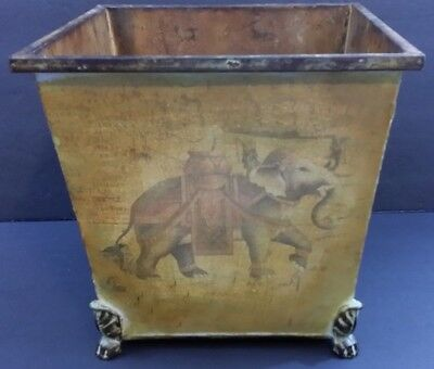 """Metal Square Container With Elephants and Claw Feet Legs Vintage 10.25"""" Tall"""