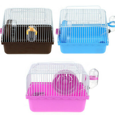 Hamster Gerbil Rat Mouse Small Pet Cage 1 Floor Storey Wheel House Water Bottle