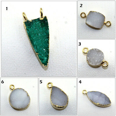 Exclusive Sale Natural Agate Druzy 24k Gold Pated Connector DIY Jewelry Findings