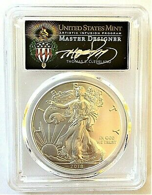 2018-W Burnished Silver Eagle-Pcgs Sp70-Fdoi-Cleveland Signed-Torch-Pop 100!!!