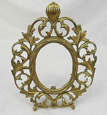 """Rococo Style Acanthus Leaf, Gilded Heavy Cast Metal Picture Frame 11"""" X 8-1/2"""""""