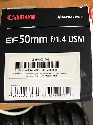 Canon EF 50mm F/1.4 USM Standard Lens For Canon - Black * Mint Condition*