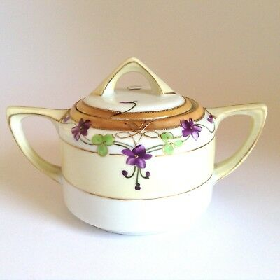 ANTIQUE NIPPON 1900s NORITAKE HAND PAINTED MORIAGE SUGAR JAM BOWL with VIOLETS