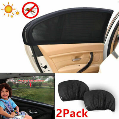 2x Car Kids Sun Shade Shield Socks Rear Side Window Large Square Cover UV Mesh