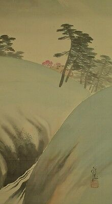 JAPANESE PAINTING LANDSCAPE HANGING SCROLL Japan Asian AGED ART Antique Old a176