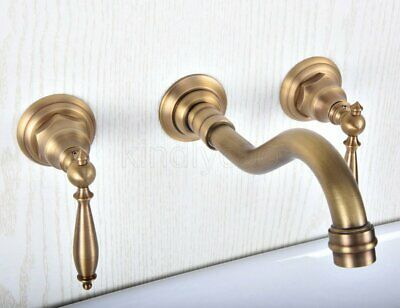 Antique Brass Wall Mounted 8-inch Widespread Bathroom Faucet Basin Mixing Tap