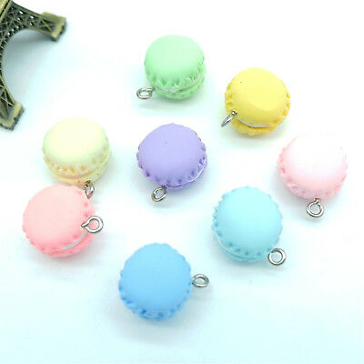 10Pcs Polymer Clay Candy Color Macaroon Charms Pendant for DIY Keychain Necklace