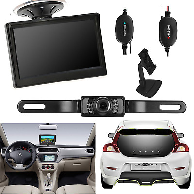 """Wireless 5"""" HD Cup Suction Monitor+Parking Reversing Camera Rear View System Kit"""