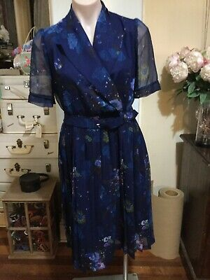 Beautiful Vintage Dress Blue Chiffon Floral Pattern Lined L/sleeve Pleated 50's