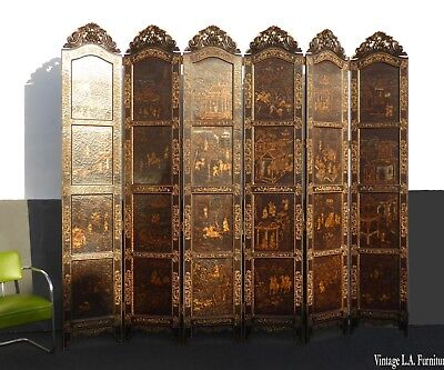 Vintage Maitland Smith Six Panel Asian Oriental Screen Room Divider Gold