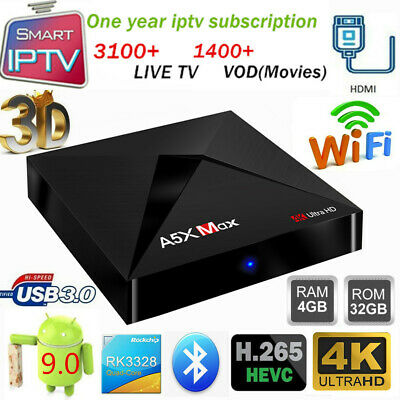 A5X MAX TV Box 4G+32G RK3328 Quad Core WiFi Android9.0 Player+1Year IPTV Service