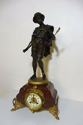 Antique French Clock Bronze Marble Clock Shelf Mantel Table Clock