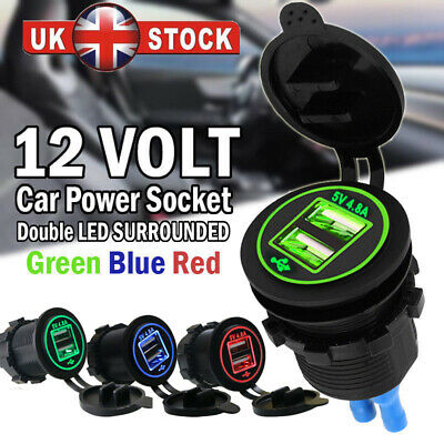 4.8A Dual USB Car Charger 2 Port LED Voltmeter 12-24V Cigarette Socket Lighter