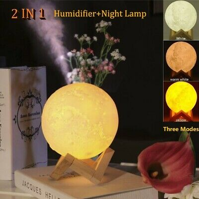 880ml Moon Lamp Light Air Humidifier Purifier Essential Oil Diffuser Aromatherap