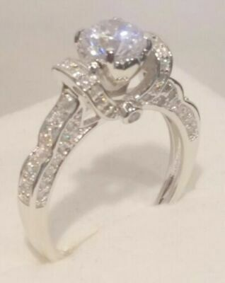 1.20 Ct Round Cut Diamond Engagement Ring For Women's 14k White Gold Finish