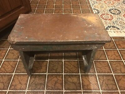 "Antique Foot Stool Original Paint Primitive Wood 19"" Long Footstool Bench"